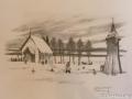 Tavla föreställande medeltidskyrkan i Dalstorp