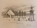 Teckning av den tidigaste stenkyrkan i Dalstorp